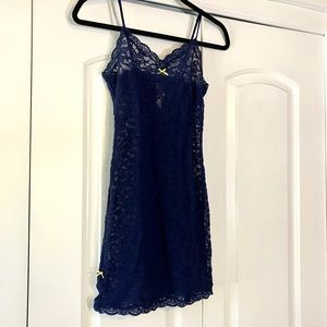 Victoria's Secret Navy Lime Lace Night Slip Gown S